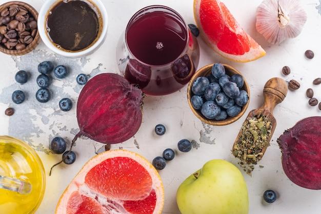 Lebensmittel für eine gesunde leber Premium Fotos