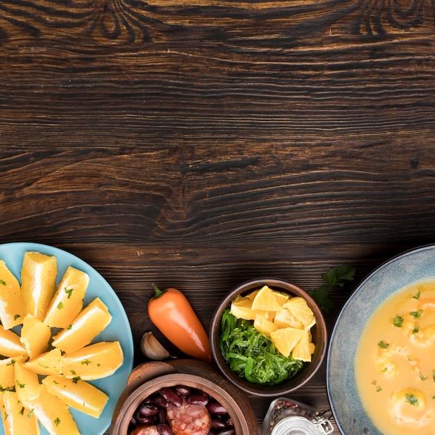 Lebensmittelrahmen mit draufsicht von oben Kostenlose Fotos