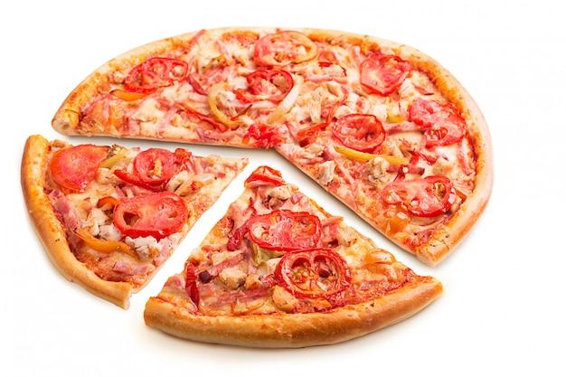Leckere italienische pizza isoliert Premium Fotos