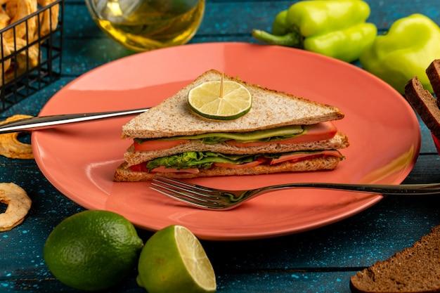 Leckeres sandwich zusammen mit grünem paprikaöl und zitrone auf blau Kostenlose Fotos