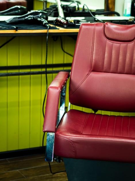 Lederner friseursalonstuhl der vorderansicht Kostenlose Fotos