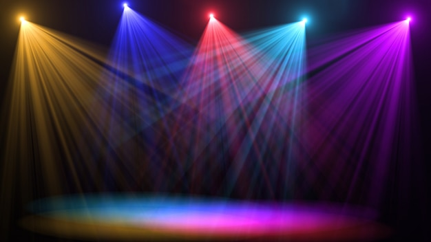 Leere bühne mit bunten scheinwerfern Premium Fotos