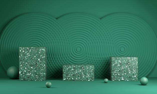 Leere grüne drei moderne minimale plattform mit abstraktem wandhintergrund 3d rendern Premium Fotos