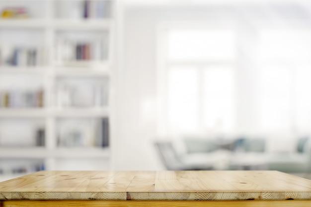 Leere hölzerne schreibtischtabelle im wohnzimmerhintergrund Premium Fotos
