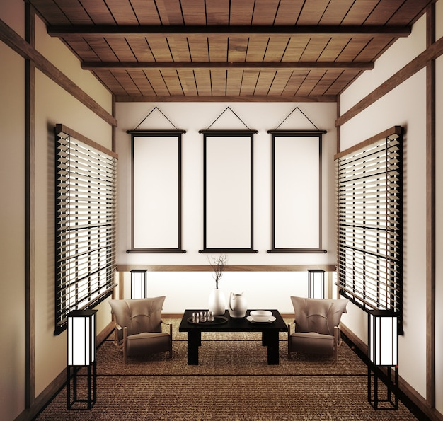 Leere japanische tatamimatten und papierschiebetüren mit dem namen shoji.3d-rendering Premium Fotos