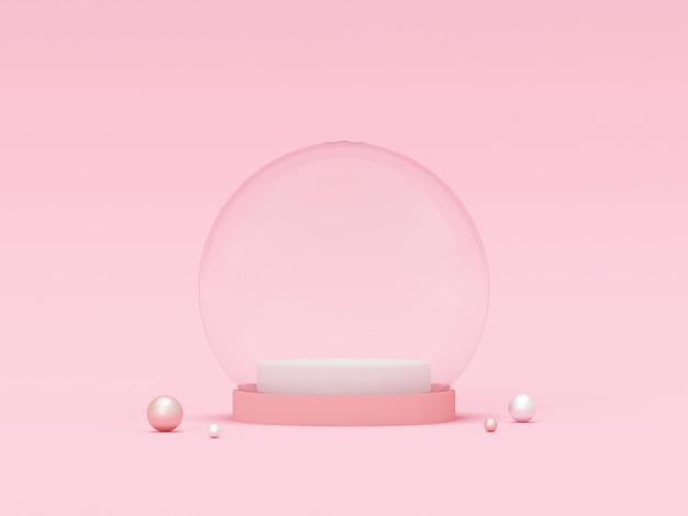 Leere kristallkugel der pastellfarbe, 3d-darstellung Premium Fotos