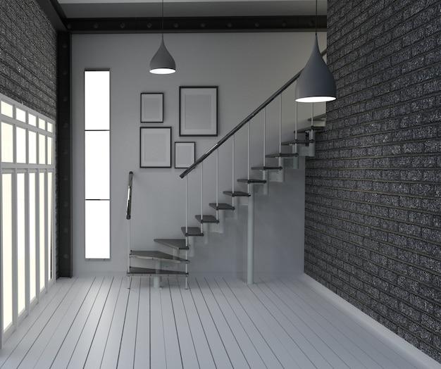Leere, moderne innenarchitektur im loft-stil. 3d-rendering Premium Fotos