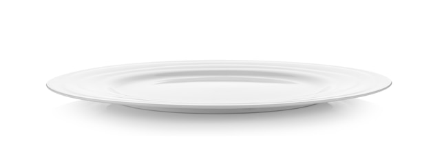 Leere platte auf weißer wand Premium Fotos