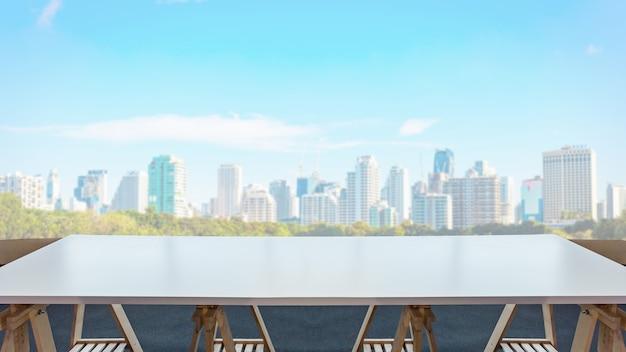 Leere tabelle im raumbüro- und fensterstadtansichthintergrund. Premium Fotos