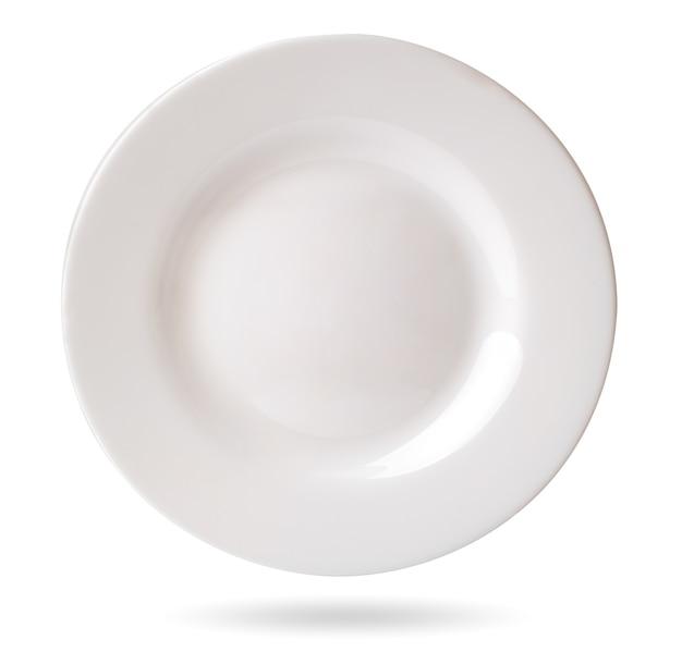 Leere weiße platte auf weiß, isoliert. Premium Fotos