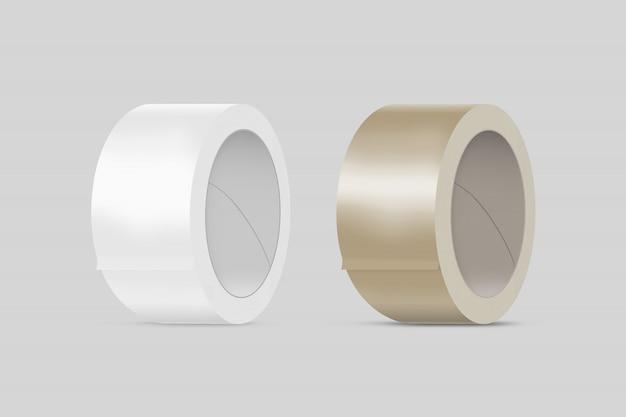 Leere weiße und braune klebebänder Premium Fotos