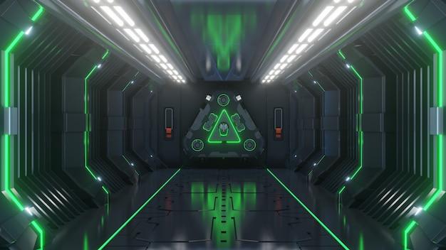 Leeren sie hellgrünen studioraum futuristischen großen hallenraum sci fi mit den blauen lichtern Premium Fotos