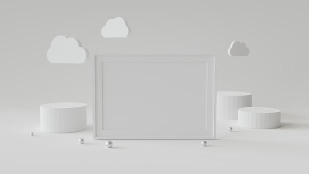 Leerer bilderrahmen mit zylinderpodium. abstrakter geometrischer hintergrund für anzeige oder modell. 3d-rendering. Premium Fotos