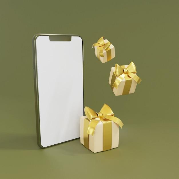 Leerer bildschirm des 3d-smartphones mit 3d-rendering der geschenkbox Premium Fotos