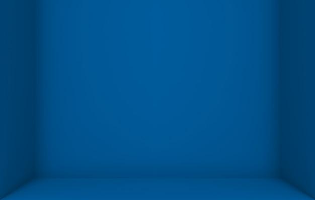 Leerer dunkelblauer farbwürfelkasten-ecken-wandhintergrund. Premium Fotos