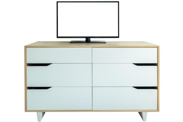 Leerer flachbildschirmfernseher auf weißen wandschrankfächern Premium Fotos