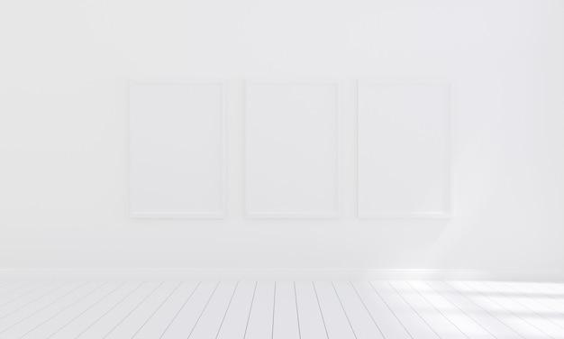 Leerer fotorahmen drei für modell im leeren reinraum, 3d übertragen, illustration 3d Premium Fotos
