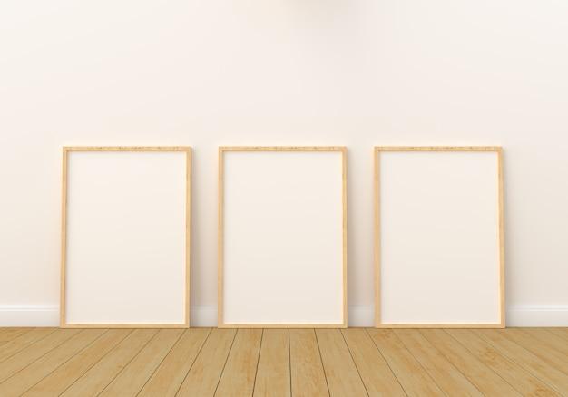 Leerer fotorahmen drei für modell im modernen wohnzimmer Premium Fotos