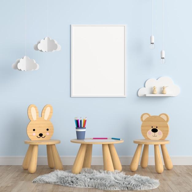 Leerer fotorahmen im kinderraum Premium Fotos