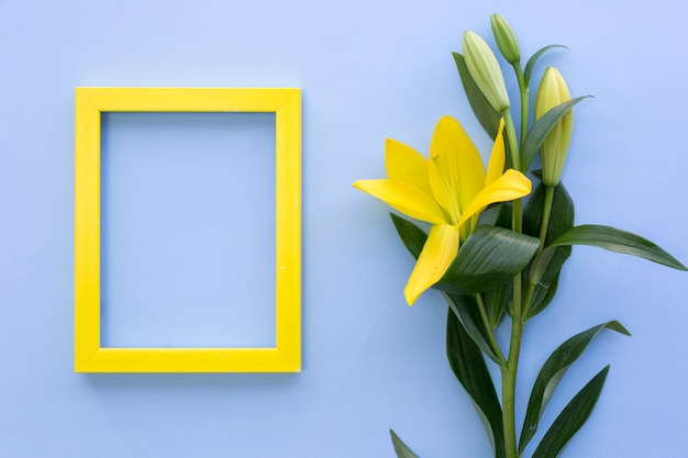 Leerer gelber fotorahmen mit lilie blüht auf blauer oberfläche Kostenlose Fotos