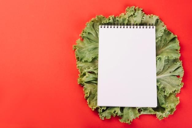 Leerer gewundener notizblock auf kopfsalat über rotem hintergrund Kostenlose Fotos