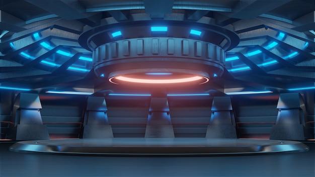 Leerer hellblauer studioraum futuristischer großer saalraum sci fi mit lichtrot Premium Fotos