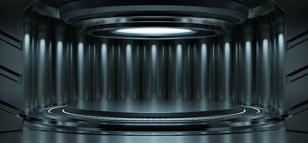 Leerer hellblauer studioraum futuristischer sci fi großer flurraum mit hellblauem hintergrund Kostenlose Fotos