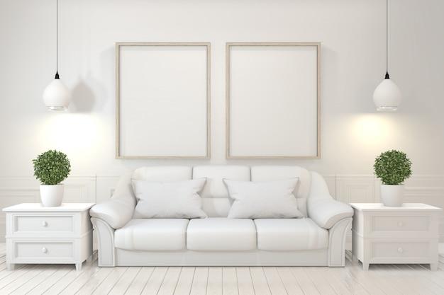 Leerer holzrahmen, sofa, anlage und lampe im leeren raum mit weißer wand. Premium Fotos