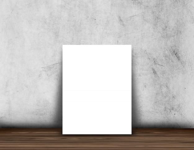 Leerer plakat- oder fotorahmen 3d auf einem holzfußboden gegen eine betonmauer Kostenlose Fotos