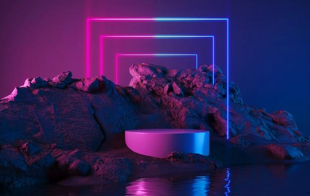 Leerer produktständer mit neonlichter geometrischer form Premium Fotos