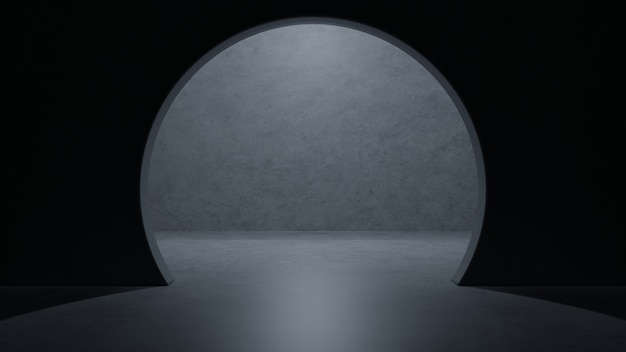Leerer raum des modernen dunklen konkreten zementraumschiffs des science fiction-raumes eleganten tiefgaragentunnel-korridors. Premium Fotos