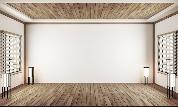 Leerer raum innenraum japan stil. 3d-rendering Premium Fotos