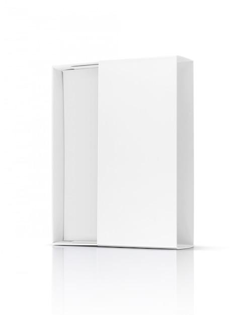 Leerer weißbuch-pappschiebekasten der verpackung für produktdesign Premium Fotos