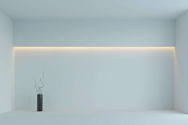 Leerer weißer unbedeutender raum mit gelber hintergrundbeleuchtung. 3d-rendering Premium Fotos