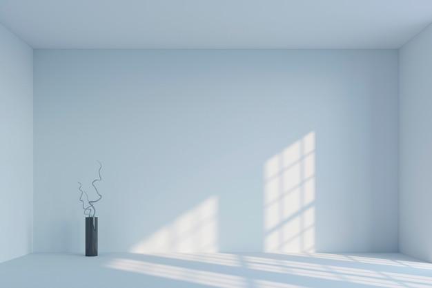 Leerer weißer unbedeutender raum und vase mit niederlassungen wiedergabe 3d Premium Fotos