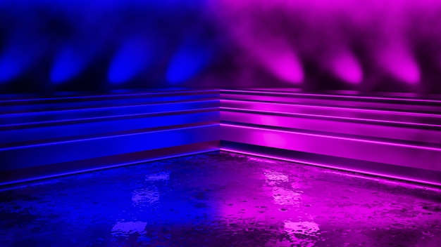 Leeres dreieckiges und purpurrotes neonlicht Premium Fotos