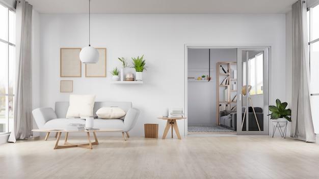 Leeres fotorahmeninnenwohnzimmer mit weißem sofa. 3d-rendering. Premium Fotos