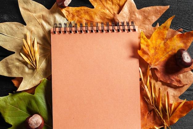 Leeres notizbuch umgeben durch herbstlaub Premium Fotos