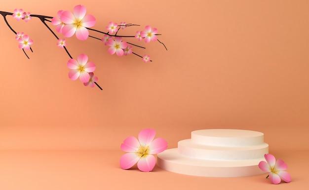 Leeres podium für die präsentation kosmetischer produkte. 3d-rendering Premium Fotos