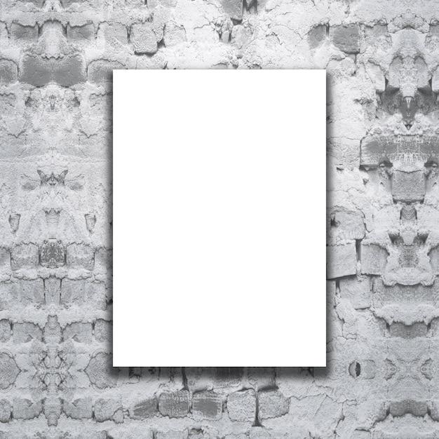 Leeres segeltuch 3d auf einer grunge backsteinmauer Kostenlose Fotos