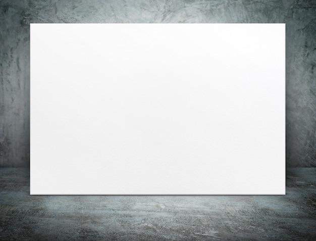 Leeres weißbuchplakatsegeltuch am schmutzbetonraum Premium Fotos