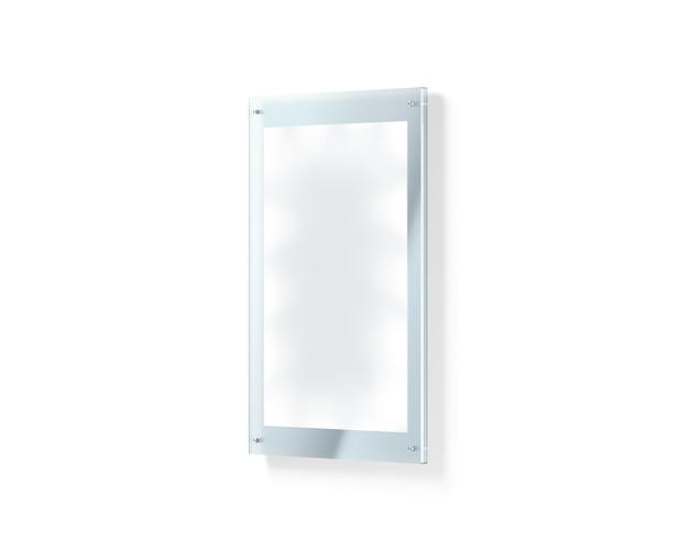 Leeres weißes belichtetes plakat unter dem glashalter Premium Fotos