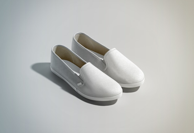 Leeres weißes slip-on-schuhpaar-design Premium Fotos