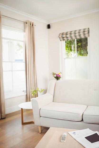 Leeres wohnzimmer mit sofa und tabelle mit zeitung und fernsehdirektübertragung Premium Fotos