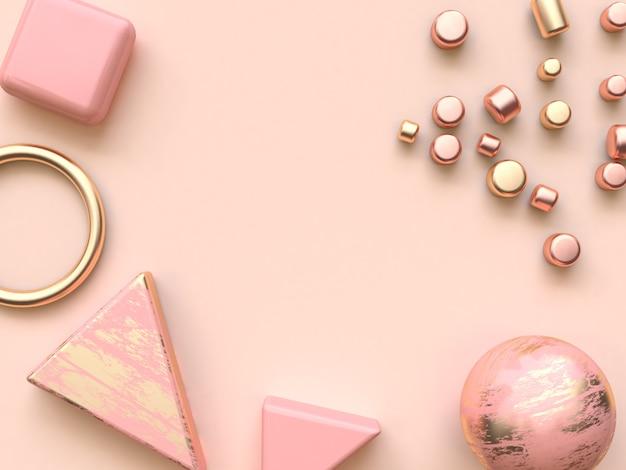 Legen flache wiedergabe der dekoration 3d der metallischen abstrakten form des rosas Premium Fotos
