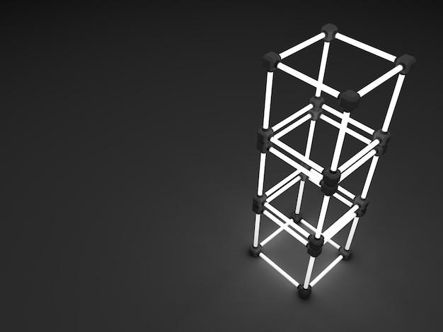 Leuchtende leuchtstoffröhrenwürfel. abstrakte zusammensetzung von geometrischen verarbeitungsanlagen Premium Fotos