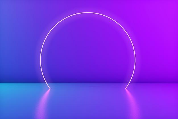 Leuchtender neonkreis im raum. bühne für produkt oder text. trendige farben. 3d-rendering. copyspace Premium Fotos