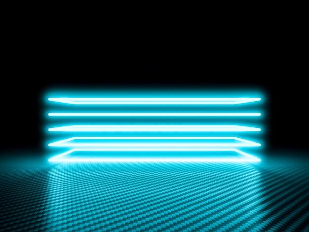 Leuchtender neonrahmen auf carbon Premium Fotos