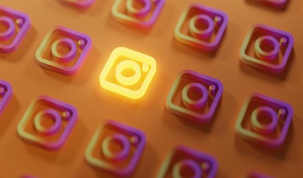 Leuchtendes instagram-logo-muster Premium Fotos