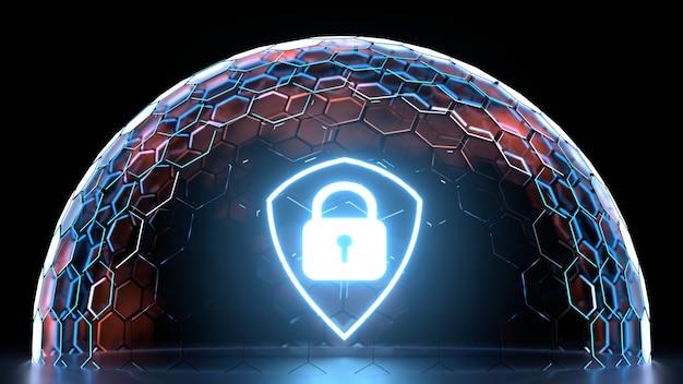 Leuchtendes schildsymbol innerhalb der sechseck-nanogitterkugel mit leuchtender kantenfarbe Premium Fotos